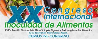 Cartel informativo sobre el XX Congreso Internacional Inocuidad de Alimentos y XXXV Reunión Nacional de Microbiología, Higiene y Toxicología de los Alimentos, Del 1 al 3 de noviembre en Nuevo Vallarta, Nayarit