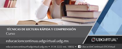 Cartel informativo sobre el  Curso: Técnicas de lectura rápida y comprensión, Inicio: 16 de octubre