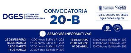 Doctorado en Gestión de la Educación Superior, convocatoria 20-B. Fecha límite de envío de documentos digitales: 8 de mayo.