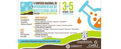 Cartel informativo sobre el V Simposio Nacional de Herramientas de Biotecnologías para una Agricultura Sustentable, Del 3 al 5 de octubre