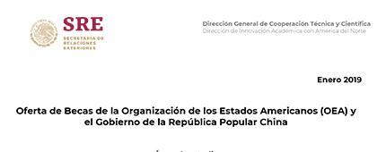 Cartel informativo sobre la Oferta de Becas de la Organización de los Estados Americanos (OEA) y el Gobierno de la República Popular China 2019