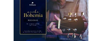 Cartel informativo de la Noche Bohemia. Música en vivo a desarrollarse el 17 de agosto, 20:00 horas, Hotel Villa Primavera