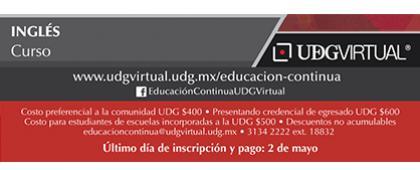 Cartel informativo sobre el Curso: Inglés que inicia el día 10 de mayo