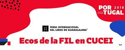 Cartel informativo sobre ECOS de la FIL en CUCEI, el  26, 27 y 30 de noviembre en la Sala del CID, CUCEI