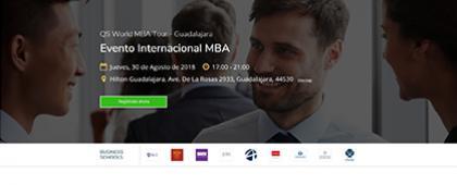Cartel informativo sobre QS World MBA Tour Guadalajara, el 30 de agosto en el  Hotel Hilton
