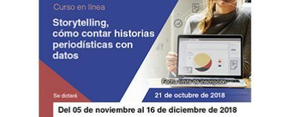 Cartel informativo sobre el Curso: Storytelling, cómo contar historias periodísticas con datos
