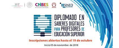 Cartel informativo sobre el Diplomado: Formación en Saberes Digitales para Docentes de Educación Superior, Inicio: 5 de noviembre