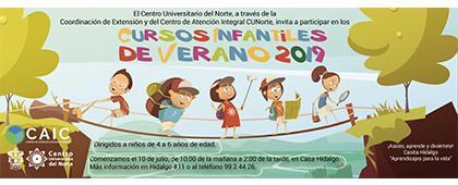 Cartel informativo de los Cursos infantiles de verano 2019.  Inicio: 10 de julio en la Casa Hidalgo.