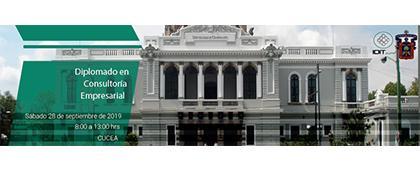 Cartel informativo del Diplomado en Consultoría Empresarial, a llevarse a cabo el 28 de septiembre en CUCEA.