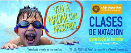 Cartel informativo sobre ¡Ven a nadar con nosotros! Clases de natación para toda la familia,Sábado y domingo, 12:00 h.