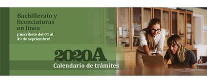 Cartel informativo de la convocatoria Estudia en línea en la Universidad de Guadalajara, calendario de trámites 2020A de UDGVirtual. Bachillerato y licenciaturas en línea.