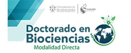 Cartel informativo y de invitación a cursar el Doctorado en Biociencias, modalidad directa. Cierre de inscripción: 11 de mayo, de 10:00 a 16:00 horas, en el CUAltos, ¡Consulta la convocatoria!
