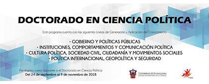 Cartel informativo sobre el Doctorado en Ciencia Política, Periodo de prerregistro: Del 24 de septiembre al 9 de noviembre