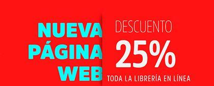 Cartel informativo de la nueva página web de la Librería Carlos Fuentes. Descuentos exclusivos para compras en línea