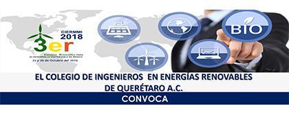 Convocatoria de la 3ra. Edición del Congreso Interdisciplinario de Energía Renovable, Mantenimiento Industrial, Mecatrónica e Informática, CIERMMI 2018. 25 y 26 de octubre, Ciudad de Santiago, Querétaro