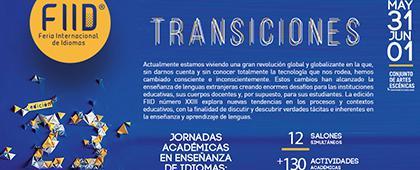"""Invitación a la 23° Feria Internacional de Idiomas """"Transiciones"""". Del 31 de mayo al 1 de junio, de 8:30 a 20:00 h. Conjunto de Artes Escénicas de la UdeG."""