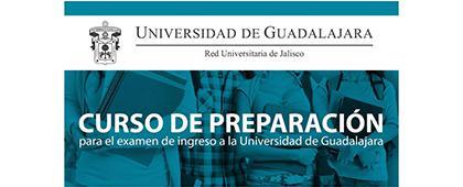 Cartel informativo sobre el Curso de preparación para el examen de ingreso a la Universidad de Guadalajara para licenciatura (PAA)