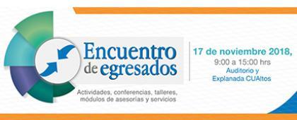 Cartel informativo sobre el Encuentro de Egresados. Actividades, conferencias, talleres, módulos de asesorías y servicios, el 17 de noviembre, de 9:00 a 15:00 h. en el Auditorio y explanada del CUAltos