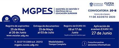 Maestría en Gestión y Políticas de la Educación Superior, convocatoria 2020B.