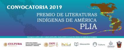 Cartel informativo de la Convocatoria: Séptima edición del Premio de Literaturas Indígenas de América 2019. Fecha límite de recepción de trabajos 12 de agosto, a las 23:59 horas de la Ciudad de México