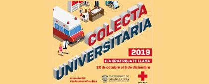 Identidad gráfica para promocionar la Colecta Universitaria 2019 de la Cruz Roja Mexicana