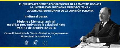 Cartel informativo sobre el Curso: Higiene y bienestar animal; medidas preventivas de la salud del hato, Del 29 al 31 de octubre, CUCBA.