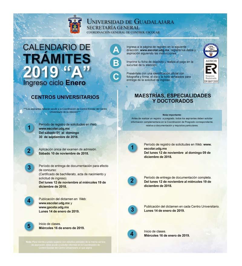 Admision Escolar: Calendario De Trámites 2019- A (Centros Universitarios Y