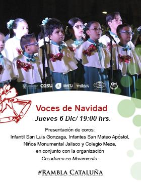 Cartel informativo sobre los Jueves de activación de Rambla Cataluña: Voces de Navidad, el 6 de diciembre, a las 19:00 h. en la Rambla Cataluña