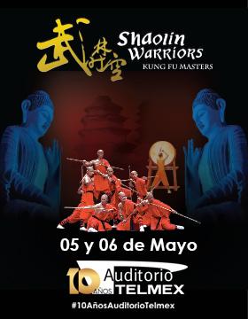 Cartel con texto con lugar y fecha de Shaolin Warriors, Kung Fu Masters