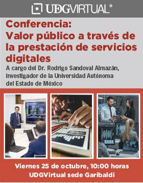 Cartel para promocionar la conferencia Valor público a través de la prestación de servicios digitales, organizada por UDGVirtual